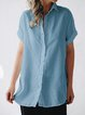 Paneled Buttoned Casual Short Sleeve Shirt Collar Shirts