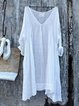 Casual Linen V-Neck 3/4 Sleeve Solid Plus Size Bat Sleeve Tops