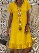 V Neck Women Dresses Shift Holiday Crochet-Trimmed Dresses