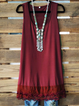 Lace Paneled Sleeveless Tunic Tanks