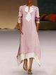 Asymmetric V Neck Casual Abstract Print Half Sleeve Dresses