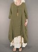 Crew Neck Khaki Women Dresses Going Out Pockets Solid Dresses