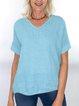 Women Round Sleeve Top V-neck T-shirt Linen