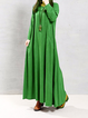 Shift Women Casual Cotton-blend Long Sleeve Paneled Casual Dress