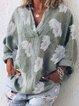 Cotton Linen Casual Long Sleeve Shirt Collar Floral-Print Shirts & Tops