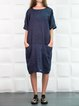Crew Neck Women Dresses Going Out Pockets Solid Dresses