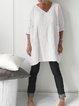 Cotton Linen V Neck Pockets Half Sleeve Casual Linen Solid Tops
