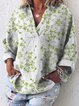 Casual Long Sleeve Floral V Neck Shirts & Tops