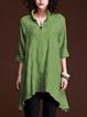 Casual 3/4 Sleeve V Neck Solid Plus Size Tops