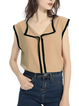 Women T-Shirt Linen Sleeveless Plain Shirt Collar