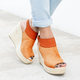 Large Size Buckle Strap Espadrille Wedges Sandals