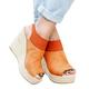 Large Size Buckle Strap Espadrille Wedges Sandals