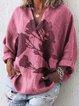 Cotton Linen Casual Long Sleeve Shirt Collar Shirts & Blouses