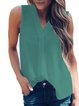 Solid V neck Casual Sleeveless Tanks