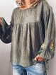 Round Neck Long Sleeve Casual Shirts & Tops