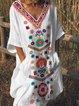 V Neck Women Dresses Shift Printed Dresses