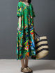 Asymmetrical Women Daily 3/4 Sleeve Cotton Printed Casual Dress