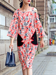 One Shoulder Red Shift Women Daily Vintage 3/4 Sleeve Embroidered Geometric Casual Dress