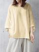 Casual Linen Crew Neck Solid Plus Size T-Shirt