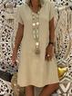 V-Neck  Shift Women Short Sleeve Casual  Solid Summer Dress