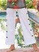 Plus Size Women New Linen Buttoned Loose Pants
