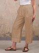 Capri Pockets Solid Linen Plus Size Loose Pants