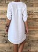 Plain Buttoned Daytime V Neck Cotton-Blend Dresses