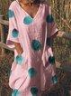 Cotton Linen V Neck Women Dresses Holiday Pockets Dresses