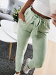 Pockets Cotton-Blend Elegant Pants with Belt