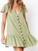 V neck   Women Daily Casual Short Sleeve Buttoned Summer Dress