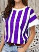 Round Neck Striped Bat Sleeve T-Shirt