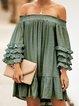 Solid Sweet Frill Sleeve Ruffled Dresses