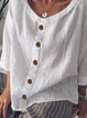 Women Plus Size Buttoned Casual Solid Cotton-Blend Blouses