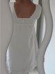 White Short Sleeve Shift Solid Dresses