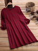 Crew Neck Women Dresses Shift Daily Linen Checkered/plaid Dresses