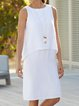 Crew Neck White Women Dresses Daily Casual Solid Dresses