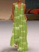 Asymmetric Fish Print Plus Size Sleeveless V Neck Maxi Dresses