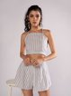 Casual Striped Suit Set Women's Holiday Fashion Tops Shorts