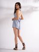 Casual Striped Suit Set Women'S Fashion Blue Halter Neck Tops Shorts