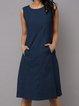 Crew Neck Women Summer Dresses Daily Linen Dresses