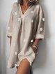 Spring Women Mini Dresses Daily Casual Cotton V Neck Dresses