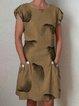 Buttoned Linen Short Sleeve Dresses