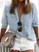 Solid Long Sleeve Shirt Collar Pockets Casual Plus Size Shirts
