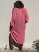 Plus Size V Neck Women Pink Beach Solid Dresses
