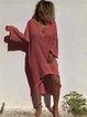 Plus Size V Neck Women Pink Beach Solid Dresses
