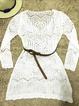 Women Beach Mini Dress Plain Blouses Crew Neck Long Sleeve