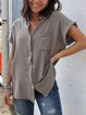 Short Sleeve Casual Cotton-Blend Shirts & Tops