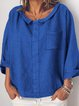 Womens Clothing  Crew Neck Casual Linen Long Sleeve Shirts & Blouses