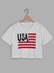 White Printed Flag Short Sleeve Casual Printed T-Shirts