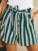 Casual Buttoned stripes Linen Pants